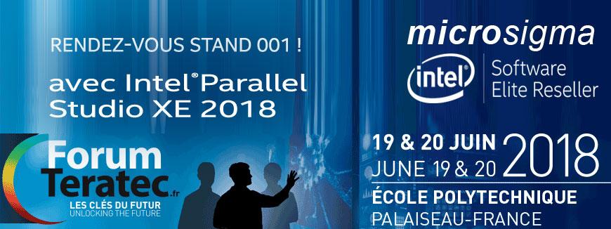 Rendez-vous stand 001 sur le Forum Teratec avec Intel Parallel Studio XE le 19 & 20 juin 2018